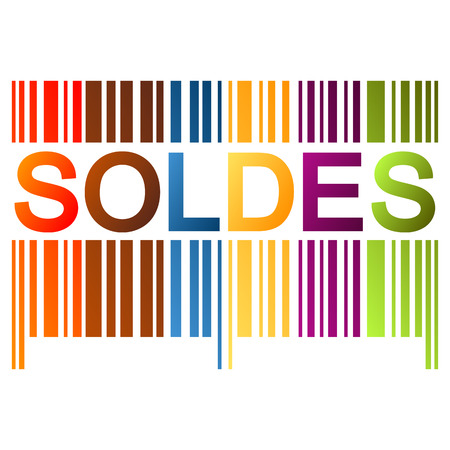 cheaper: colored bar code with soldes Illustration