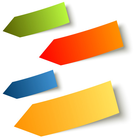 sticky note: collection of arrow sticky notes colored