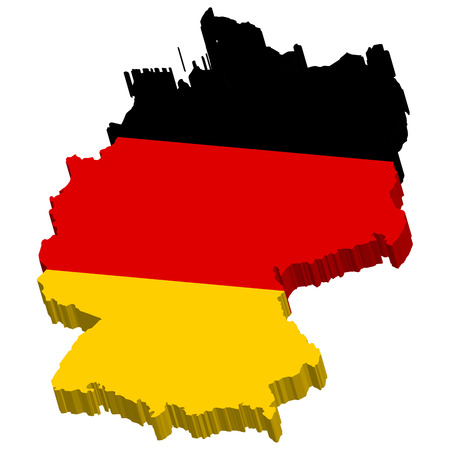 geographically: german map colored three-dimensional