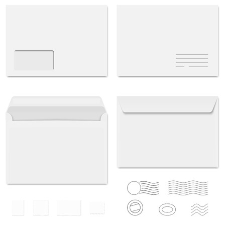 large office: collection envelopes, stamps and postmarks Illustration