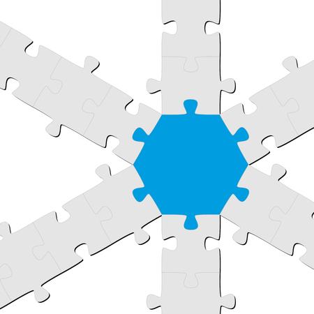 teamwork - puzzle symbolism - one colored part