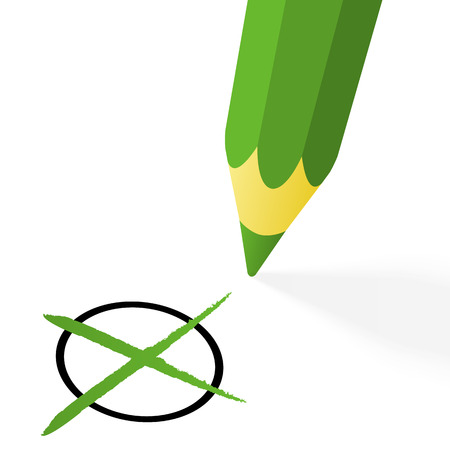 Choice  green pencil with cross - vector illustration Vector