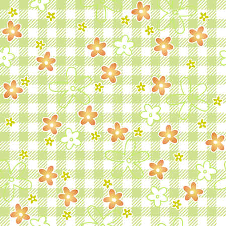 continuously: checkered table cloth background with flowers