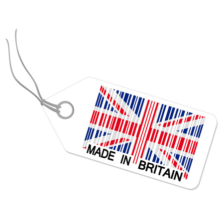 internationally: hangtag with MADE IN BRITAIN Illustration