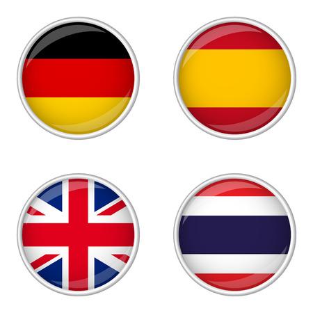 bandera de gran bretaña: botón con la colección de banderas Vectores