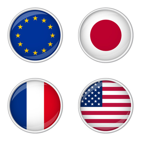 internationally: button with flags collection