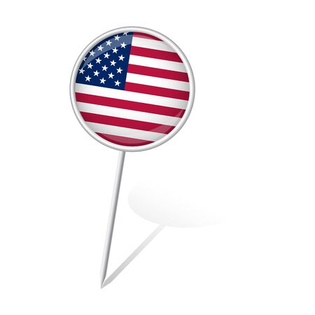 internationally: pin round with USA flag