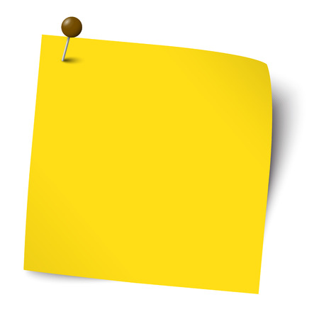 yellow notebook: Colored note with pin needle Illustration