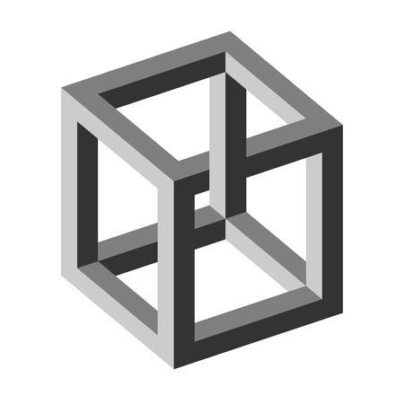 spuria: illusione ottica - cubo irreale Vettoriali
