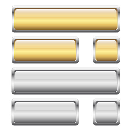 rectangle button: collection of buttons gold and silver Illustration