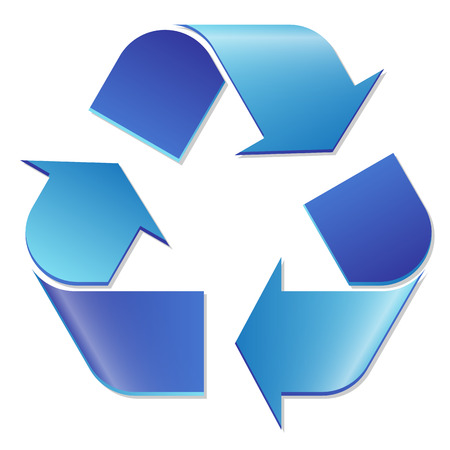 waste recovery: recycling sign blue Illustration
