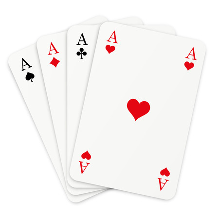 four playing cards with aces