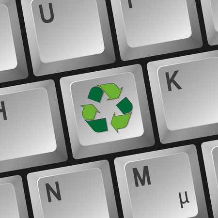 waste recovery: recycling sign on keyboard
