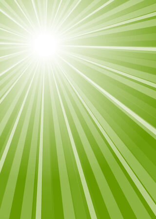 heat radiation: green colored rays background Illustration