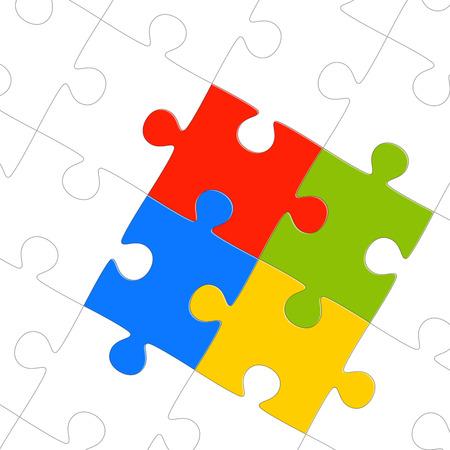 symbolism: teamwork - puzzle symbolism - colored parts Illustration