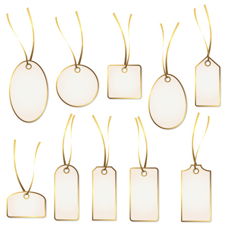 collection of gold - white hangtags Vector