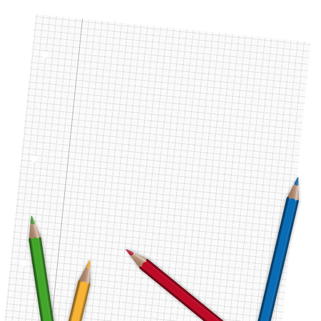 din: empty sheet of paper with colored crayons Illustration