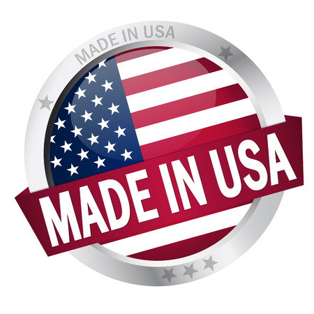 banderole: button MADE IN USA Illustration