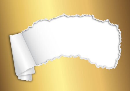 ripped opened paper gold Vector