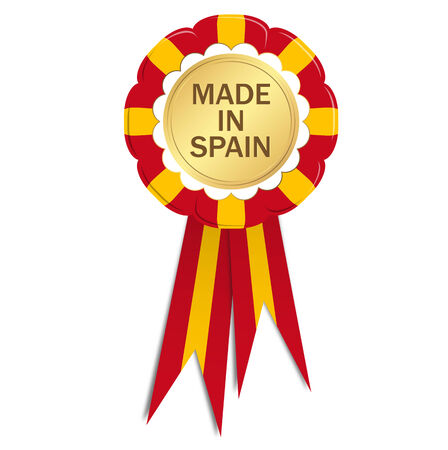 button with ribbons MADE IN SPAIN Vector