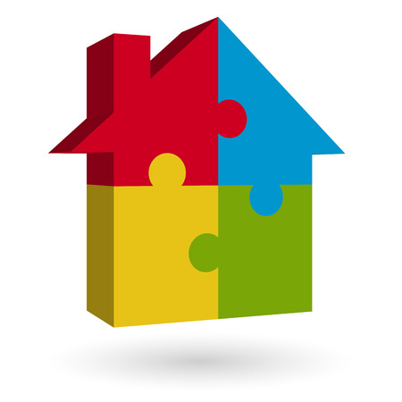 puzzle house in four colors Vector