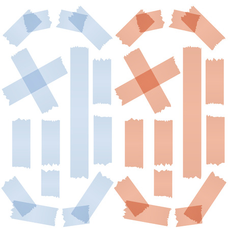 rip off: collection of ripped tape - blue   red Illustration