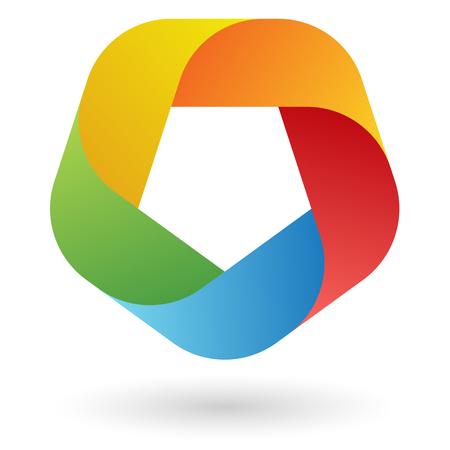 colored teamwork design 5 colors Vector