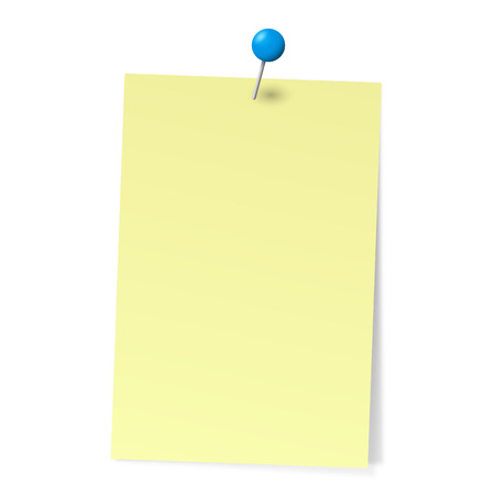 yellow note: sticky note with pin needle