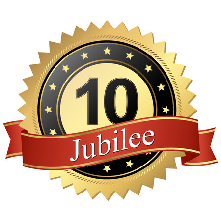founding: Jubilee button with banners 10 years Illustration