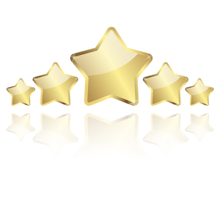 five golden stars with reflection in a row vector Vector