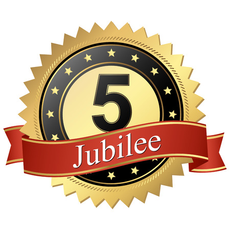 founding: Jubilee button with banners 5 years Illustration