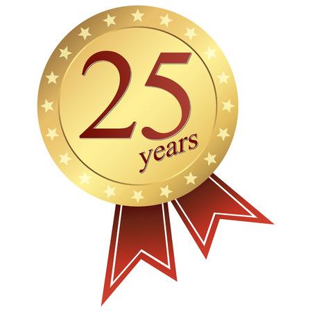 ゴールド ジュビリー ボタン 25 年  イラスト・ベクター素材