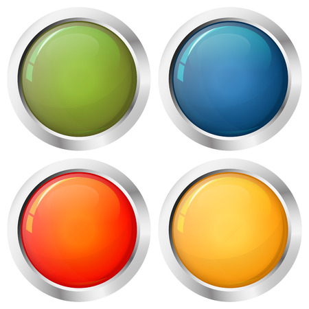 pinboard: Button template four colors with silver frame vector Illustration