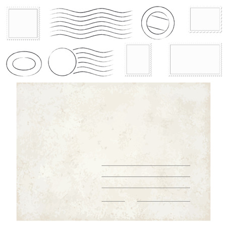 yellowed: vector of old vintage envelope, stamps and postmarks