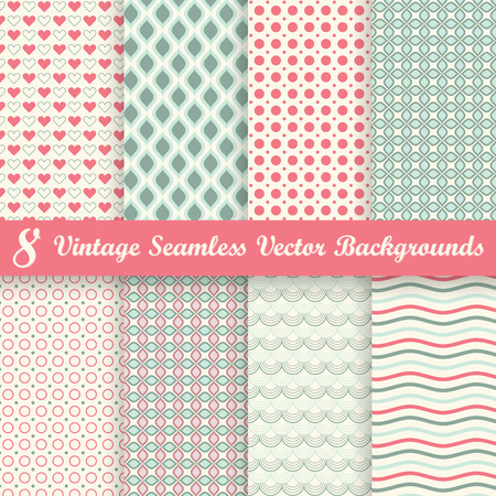 second birthday: collection of eight seamless vintage background Illustration