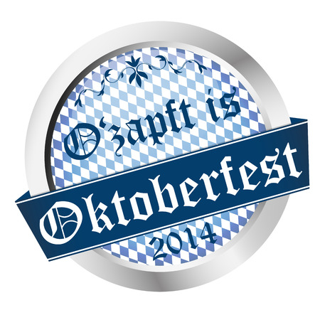 beer garden: vector of Button Oktoberfest 2014 - Ozapft is