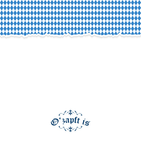 beer garden: vector of ripped paper Oktoberfest background with text Ozapft is Illustration