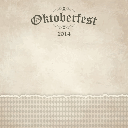 beer garden: vector of old vintage background with checkered pattern and patch Oktoberfest 2014 Illustration