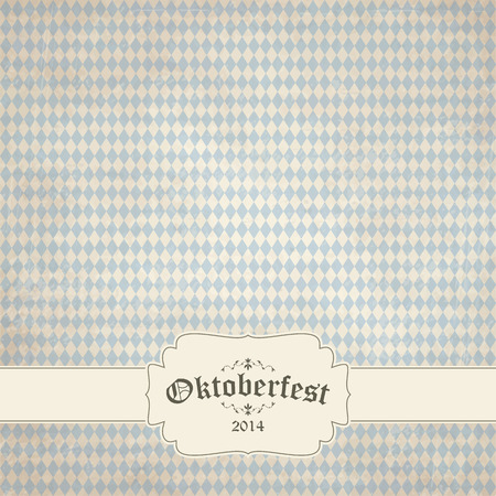 beer garden: old vintage background with checkered pattern and patch Oktoberfest 2014 Illustration