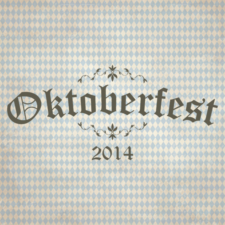 beer garden: old vintage background with checkered pattern and Oktoberfest 2014 Illustration