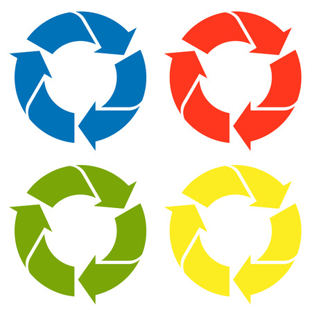 waste recovery: recycling sign in four colors