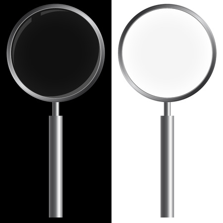 investigate: magnifying glass on white and black
