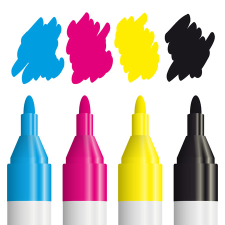 four color printing: CMYK with four pens