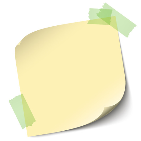 glued: sticky note with adhesive tape