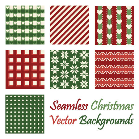 continuously: Seven seamless christmas backgrounds on white background Illustration