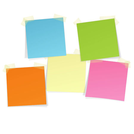 colored sticky notes with tape Vector