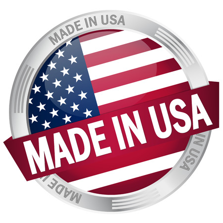 usa stamp: button MADE IN USA Illustration