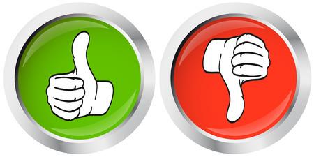 autoriser: coup de pouce - pouce vers le bas boutons