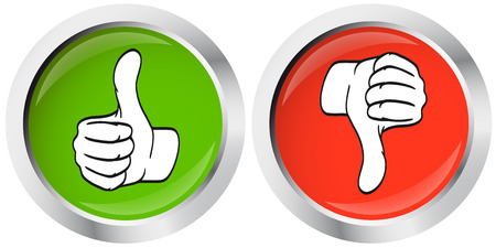 thumbs up - thumbs down buttons Stock Illustratie