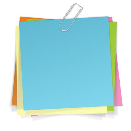 colored papers with clamp Illustration